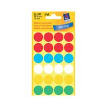 18*18 mm-es Avery Zweckform öntapadó íves etikett címke, vegyes színű (4 ív/doboz), normál ragasztóval