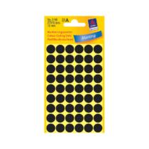 12*12 mm-es Avery Zweckform öntapadó íves etikett címke, fekete színű (5 ív/doboz), normál ragasztóval