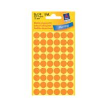 12*12 mm-es Avery Zweckform öntapadó íves etikett címke, neonnarancs színű (5 ív/doboz), normál ragasztóval