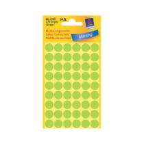 12*12 mm-es Avery Zweckform öntapadó íves etikett címke, neon zöld színű (5 ív/doboz), normál ragasztóval