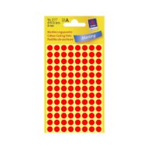 8*8 mm-es Avery Zweckform öntapadó íves etikett címke, neon piros színű (4 ív/doboz), normál ragasztóval