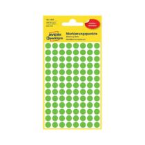 8*8 mm-es Avery Zweckform öntapadó íves etikett címke, zöld színű (4 ív/doboz), visszaszedhető ragasztóval