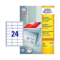 64,6*33,8 mm-es Avery Zweckform A4 íves etikett címke, fehér színű (200 ív/doboz)