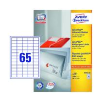 38*21,2 mm-es Avery Zweckform A4 íves etikett címke, fehér színű (200 ív/doboz)