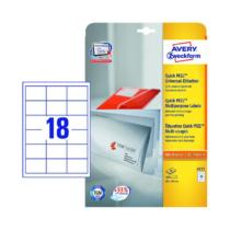 64*45 mm-es Avery Zweckform A4 íves etikett címke, fehér színű (25 ív/doboz)