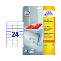 64,6*33,8 mm-es Avery Zweckform A4 íves etikett címke, fehér színű (25 ív/doboz)