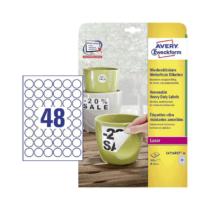 30 mm-es Avery Zweckform A4 íves etikett címke, fehér színű (20 ív/doboz)