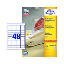 45,7*21,2 mm-es Avery Zweckform A4 íves etikett címke, fehér színű (100 ív/doboz)
