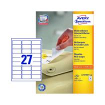 63,5*29,6 mm-es Avery Zweckform A4 íves etikett címke, fehér színű (100 ív/doboz)