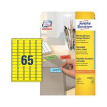 38,1*21,2 mm-es Avery Zweckform A4 íves etikett címke, sárga színű (20 ív/doboz)