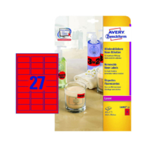 63,5*29,6 mm-es Avery Zweckform A4 íves etikett címke, neon piros színű (25 ív/doboz)