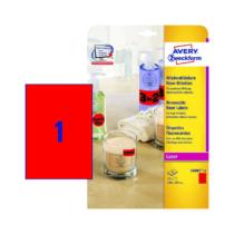 210*297 mm-es Avery Zweckform A4 íves etikett címke, neon piros színű (25 ív/doboz)