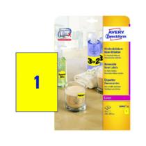 210*297 mm-es Avery Zweckform A4 íves etikett címke, neon sárga színű (25 ív/doboz)