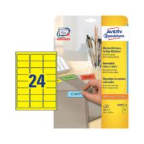 63,5*33,9 mm-es Avery Zweckform A4 íves etikett címke, sárga színű (20 ív/doboz)