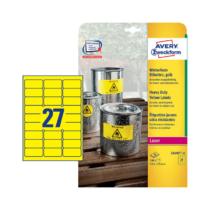 63,5*29,6 mm-es Avery Zweckform A4 íves etikett címke, sárga színű (20 ív/doboz)