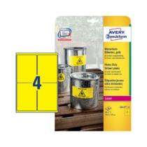99,1*139 mm-es Avery Zweckform A4 íves etikett címke, sárga színű (20 ív/doboz)