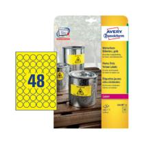 30 mm-es Avery Zweckform A4 íves etikett címke, sárga színű (20 ív/doboz)