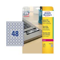 30 mm-es Avery Zweckform A4 íves etikett címke, ezüst színű (20 ív/doboz)