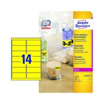 99,1*38,1 mm-es Avery Zweckform A4 íves etikett címke, neon sárga színű (25 ív/doboz)