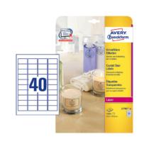 45,7*25,4 mm-es Avery Zweckform A4 íves etikett címke, átlátszó (víztiszta) színű (25 ív/doboz)