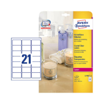 63,5*38,1 mm-es Avery Zweckform A4 íves etikett címke, átlátszó (víztiszta) színű (25 ív/doboz)
