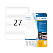 192*10 mm-es Herma A4 íves etikett címke, fehér színű (25 ív/doboz)