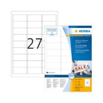 63,5*29,6 mm-es Herma A4 íves etikett címke, fehér színű (100 ív/doboz)