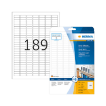 25,4*10 mm-es Herma A4 íves etikett címke, fehér színű (25 ív/doboz)