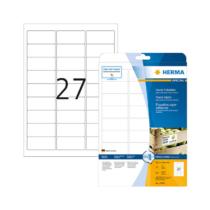 63,5*29,6 mm-es Herma A4 íves etikett címke, fehér színű (25 ív/doboz)