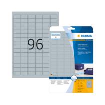 30,5*16,9 mm-es Herma A4 íves etikett címke, ezüst színű (25 ív/doboz)