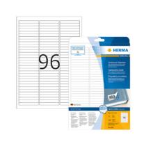 63,5*8,5 mm-es Herma A4 íves etikett címke, fehér színű (25 ív/doboz)