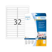 96*16,9 mm-es Herma A4 íves etikett címke, fehér színű (25 ív/doboz)