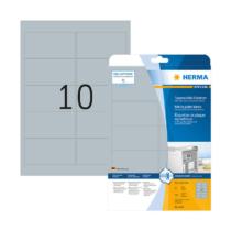 96*50,8 mm-es Herma A4 íves etikett címke, ezüst színű (25 ív/doboz)