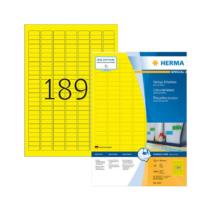 25,4*10 mm-es Herma A4 íves etikett címke, sárga színű (100 ív/doboz)