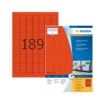 25,4*10 mm-es Herma A4 íves etikett címke, piros színű (100 ív/doboz)
