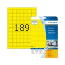 25,4*10 mm-es Herma A4 íves etikett címke, sárga színű (20 ív/doboz)