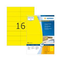 105*37 mm-es Herma A4 íves etikett címke, sárga színű (100 ív/doboz)