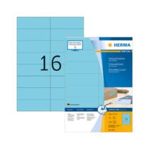105*37 mm-es Herma A4 íves etikett címke, kék színű (100 ív/doboz)