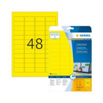45,7*21,2 mm-es Herma A4 íves etikett címke, sárga színű (20 ív/doboz)