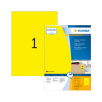 210*297 mm-es Herma A4 íves etikett címke, sárga színű (100 ív/doboz)