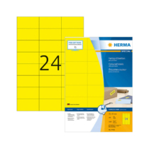 70*37 mm-es Herma A4 íves etikett címke, sárga színű (100 ív/doboz)