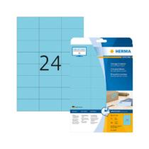 70*37 mm-es Herma A4 íves etikett címke, kék színű (20 ív/doboz)