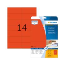 105*42,3 mm-es Herma A4 íves etikett címke, piros színű (20 ív/doboz)
