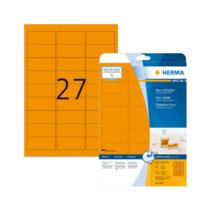 63,5*29,6 mm-es Herma A4 íves etikett címke, neonnarancs színű (20 ív/doboz)