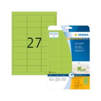 63,5*29,6 mm-es Herma A4 íves etikett címke, neon zöld színű (20 ív/doboz)