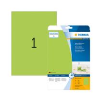 210*297 mm-es Herma A4 íves etikett címke, neon zöld színű (20 ív/doboz)
