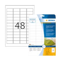 45,7*21,2 mm-es Herma A4 íves etikett címke, átlátszó (víztiszta) színű (25 ív/doboz)
