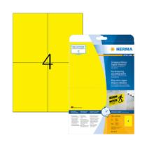 105*148 mm-es Herma A4 íves etikett címke, sárga színű (25 ív/doboz)