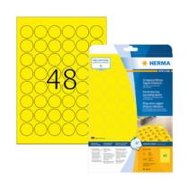 30 mm-es Herma A4 íves etikett címke, sárga színű (25 ív/doboz)