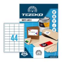 48,5*25,5 mm-es Tezeko A4 íves etikett címke, fehér színű (100 ív/doboz)